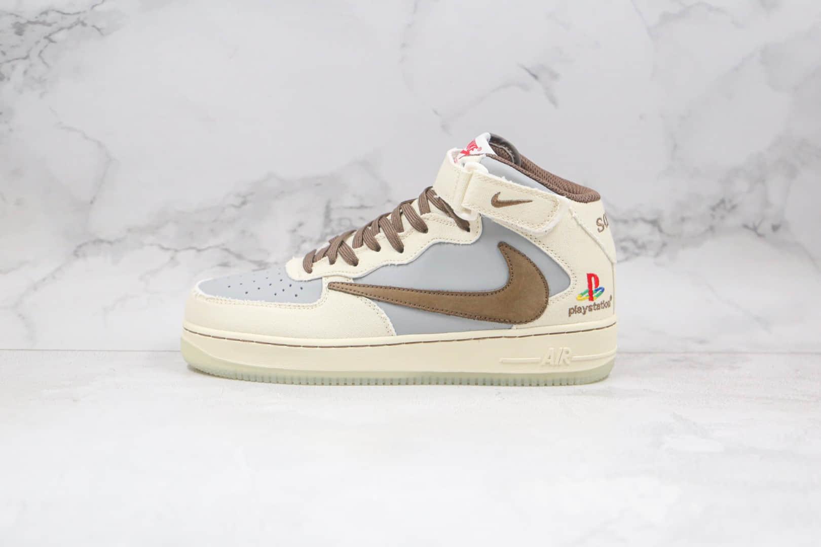 耐克Nike Air Force1 Mid x Playstation x Nike Travis Scott三方联名款纯原版本中帮空军一号倒钩板鞋内置气垫 货号:BQ5028-202