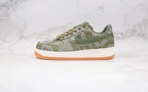 耐克Nike Air Force 1 Premium x Clot陈冠希联名款纯原版本低帮绿色丝绸空军一号板鞋正确鞋面丝绸材质可撕 货号:CZ3986-008