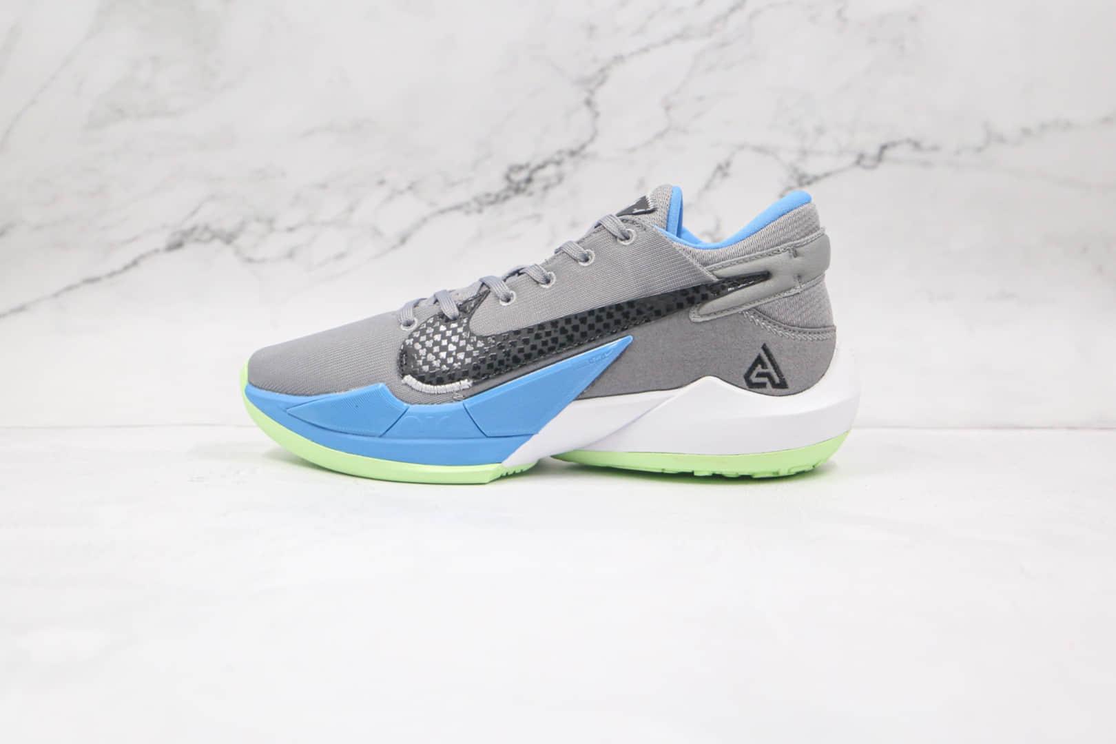 耐克Nike Zoom Freak 2纯原版本字母哥二代灰黑蓝色篮球鞋内置气垫支持实战 货号:CK5424-004