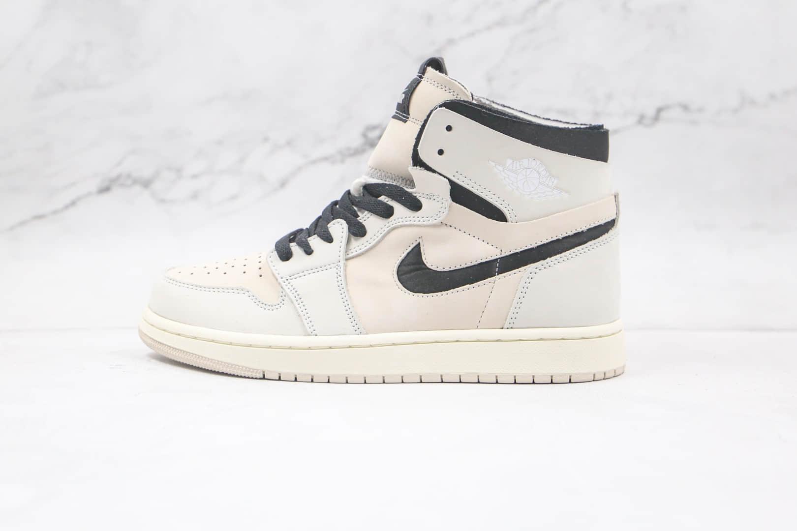 纯原版本乔丹高帮AJ1 zoom珍珠奶茶米白色板鞋出货