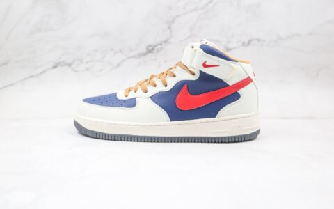 纯原版本耐克中帮空军一号白蓝红色板鞋出货