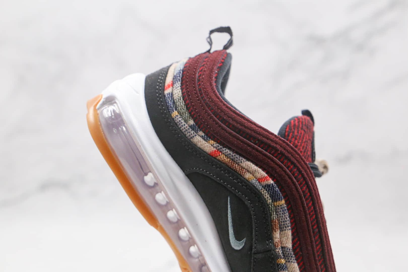 耐克Nike Air Max 97纯原版本酒红格子色Max97子弹气垫鞋真小潘气垫 货号:DC3494-993