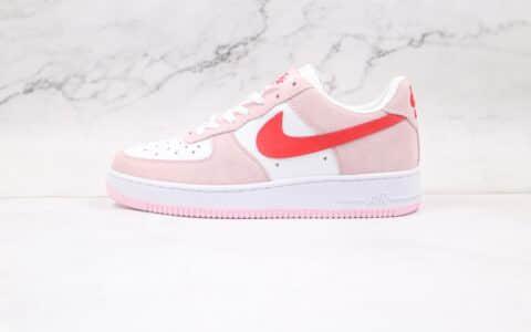 耐克Nike Air Force 1 07 QS纯原版本低帮空军一号情人节限定粉红色板鞋内置气垫原盒原标 货号:DD3384-600