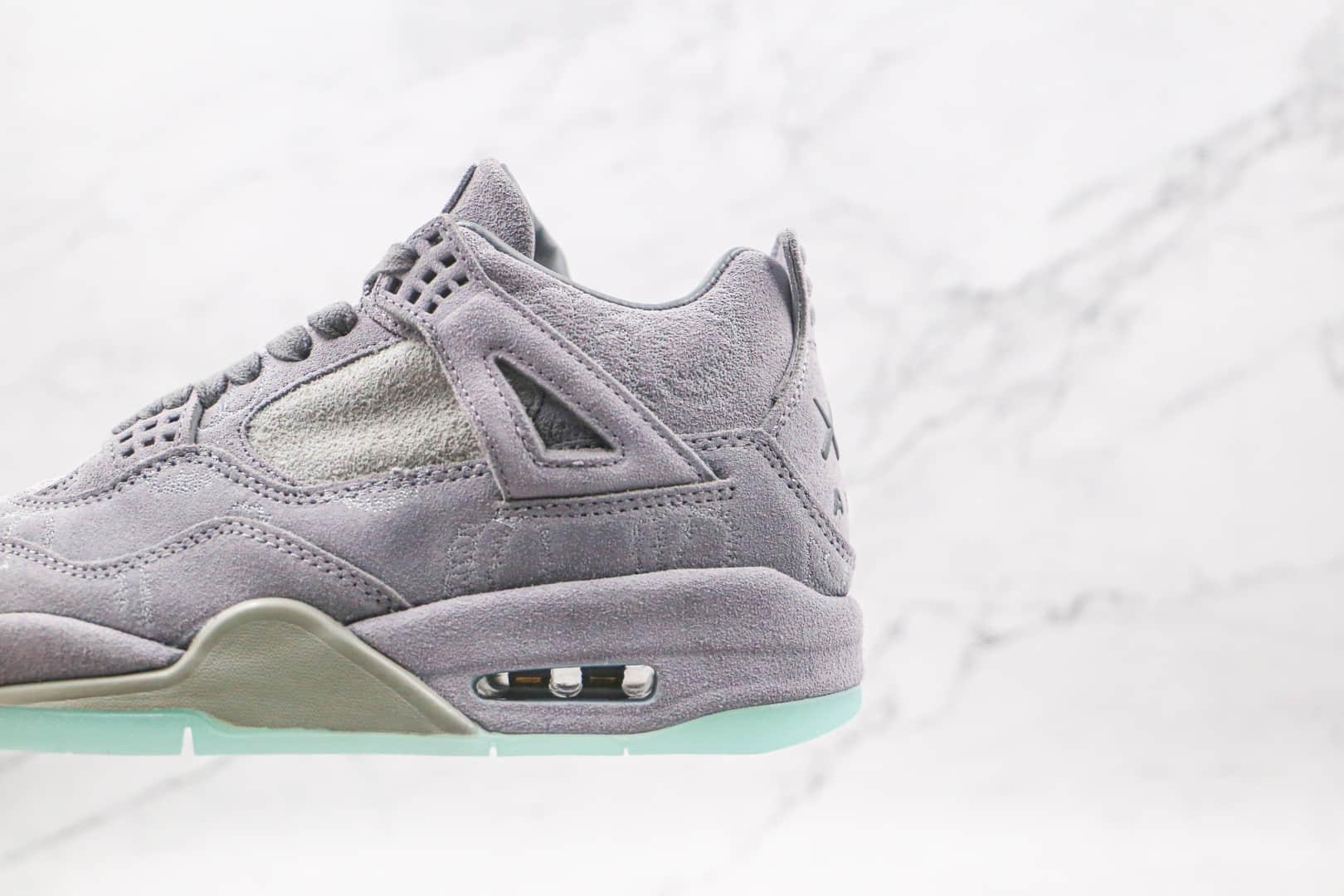 乔丹Air Jordan 4 X Kaws联名款纯原版本中帮麂皮酷灰夜光篮球鞋原鞋开模一比一打造 货号:930155-003