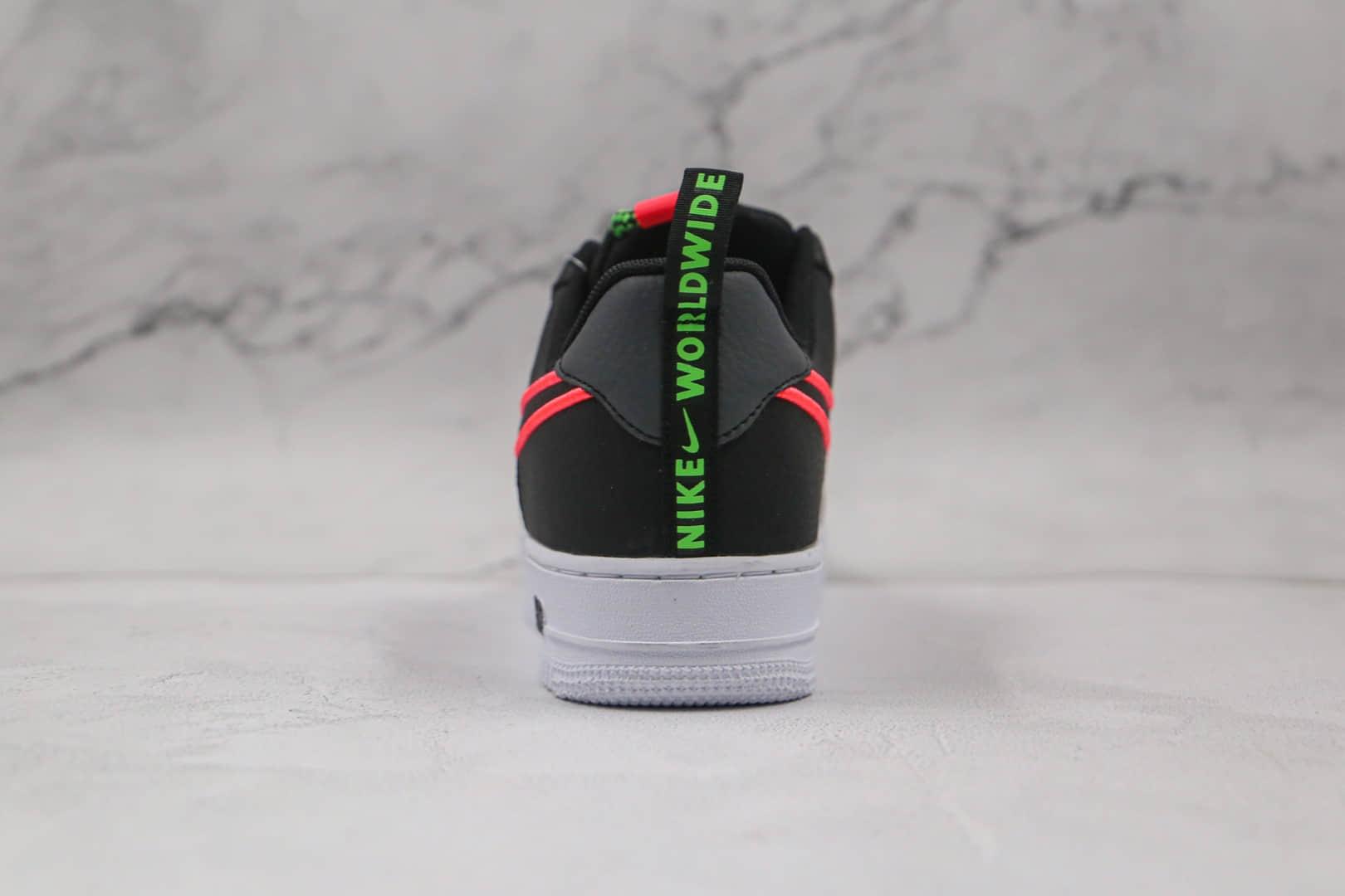 耐克Nike Air Force 1'07 Low World Wide纯原版本低帮空军一号黑绿粉色字母弹幕花纹刺绣钩子板鞋内置Sole气垫 货号:CK7213-001