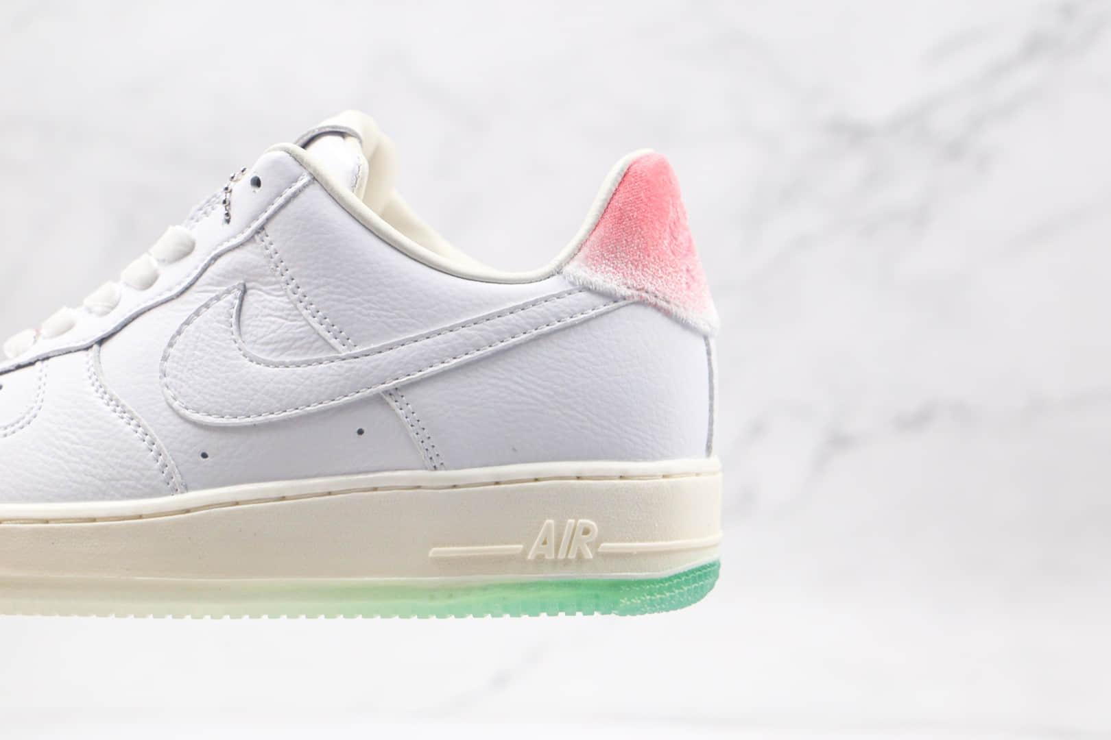 耐克Nike Air Force 1 '07 PRM纯原版本低帮空军一号白绿粉寿桃配色板鞋内置Sole气垫 货号:DC3287-111