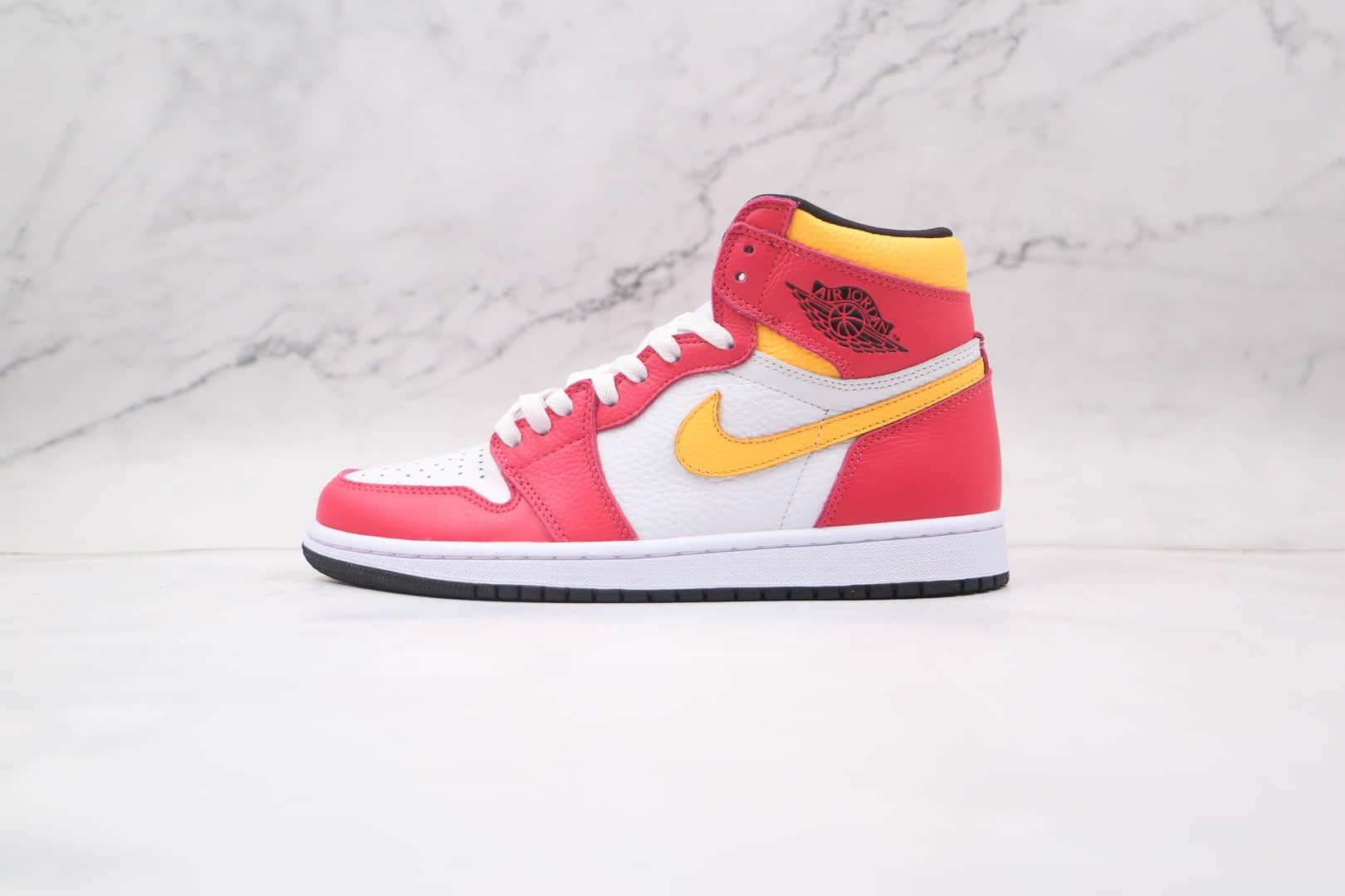 乔丹Air Jordan 1纯原版本高帮AJ1粉黄白篮球鞋原档案数据开发正确后跟定型 货号:555088-603