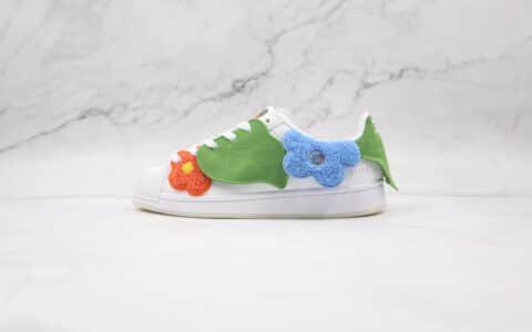 阿迪达斯Adidas originals Superstar Bee With You x Melting Sadness联名款纯原版本三叶草贝壳头红蓝绿白情人节限定小蜜蜂花朵绿叶板鞋原盒原标 货号:GZ2662