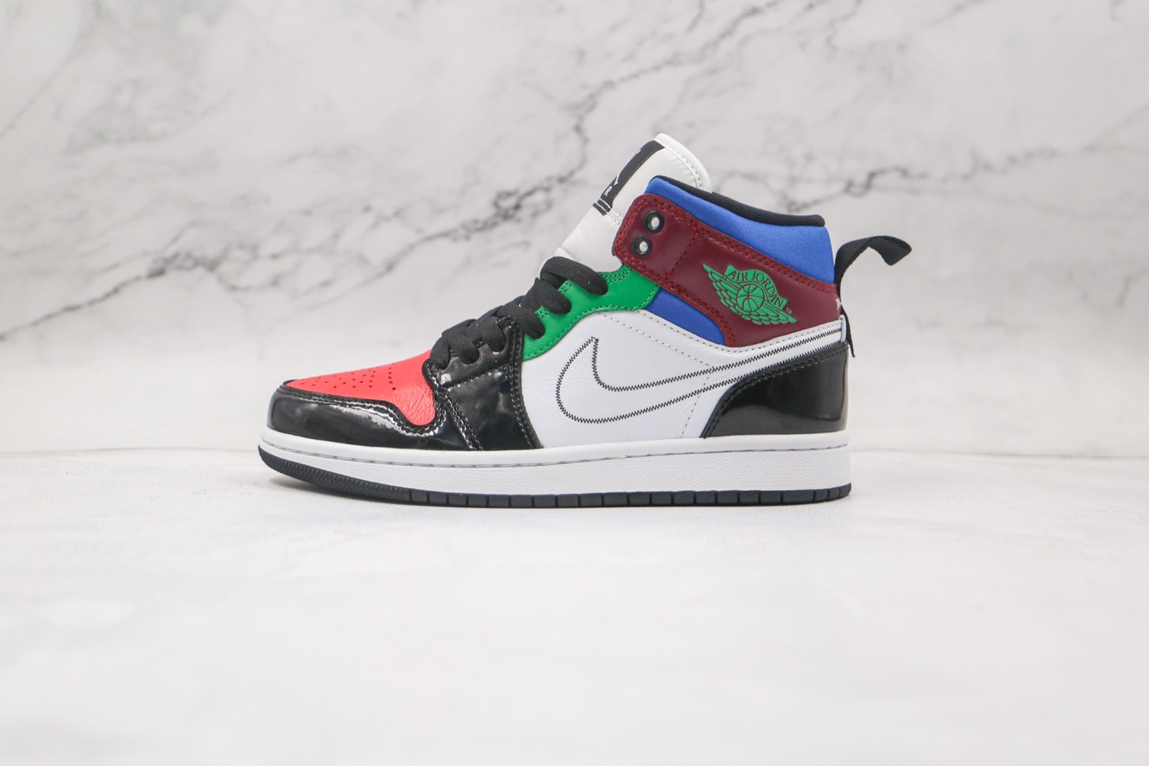 乔丹Air Jordan 1 Mid Multicolor纯原版本中帮AJ1彩色拼接篮球鞋正确后跟定型 货号:DB5454-001