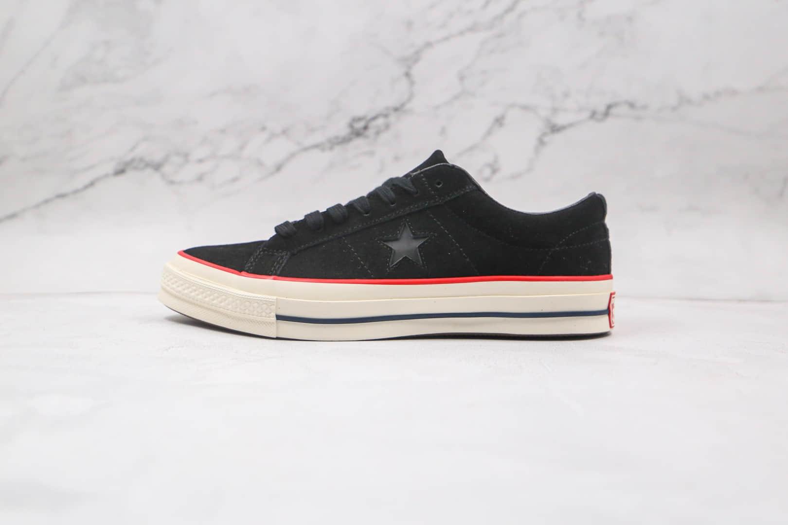 匡威Converse One Star公司级版本低帮杰克一星3M反光翻毛皮黑红硫化板鞋原楦头纸板打造