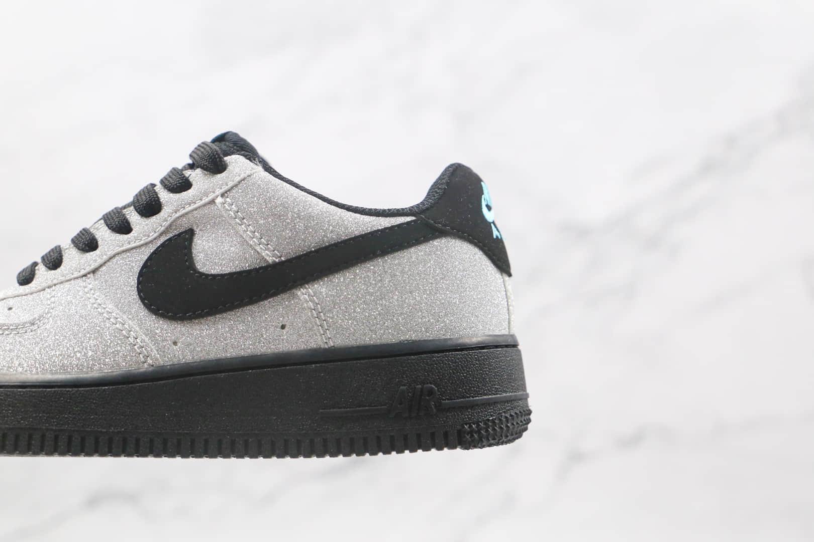 耐克Nike Air Force 1 AF1 Tiffany纯原版本低帮空军一号银黑色钻石珠光闪光板鞋内置Sole气垫 货号:718152-005