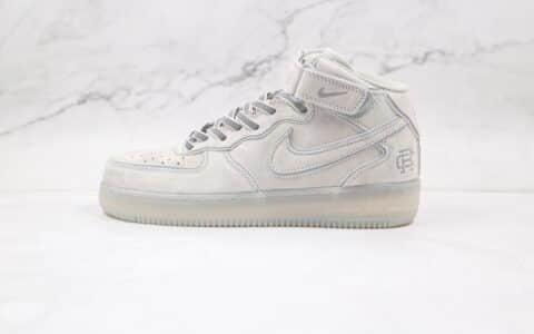 耐克Reigning Champ x Nike Air Force1'07 Mid纯原版本卫冕冠军联名中帮空军一号麂皮灰3M反光板鞋进口猪八革 货号:GB1228-185