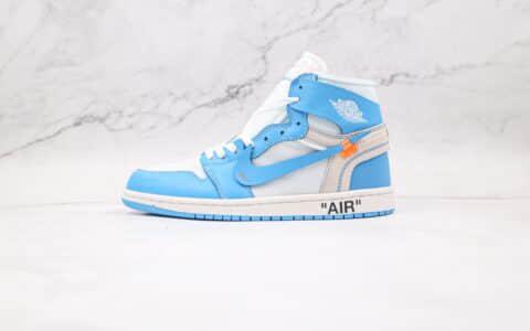 乔丹Air Jordan 1 x Off-White联名款纯原版本高帮AJ1白蓝色板鞋原盒原标 货号:AQ0818-148