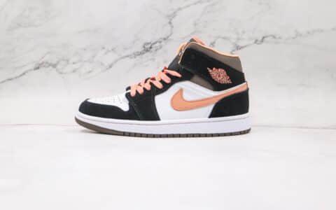 乔丹Air Jordan 1 Mid纯原版本中帮AJ1蜜桃摩卡色篮球鞋正确后跟定型 货号:DH0210-100