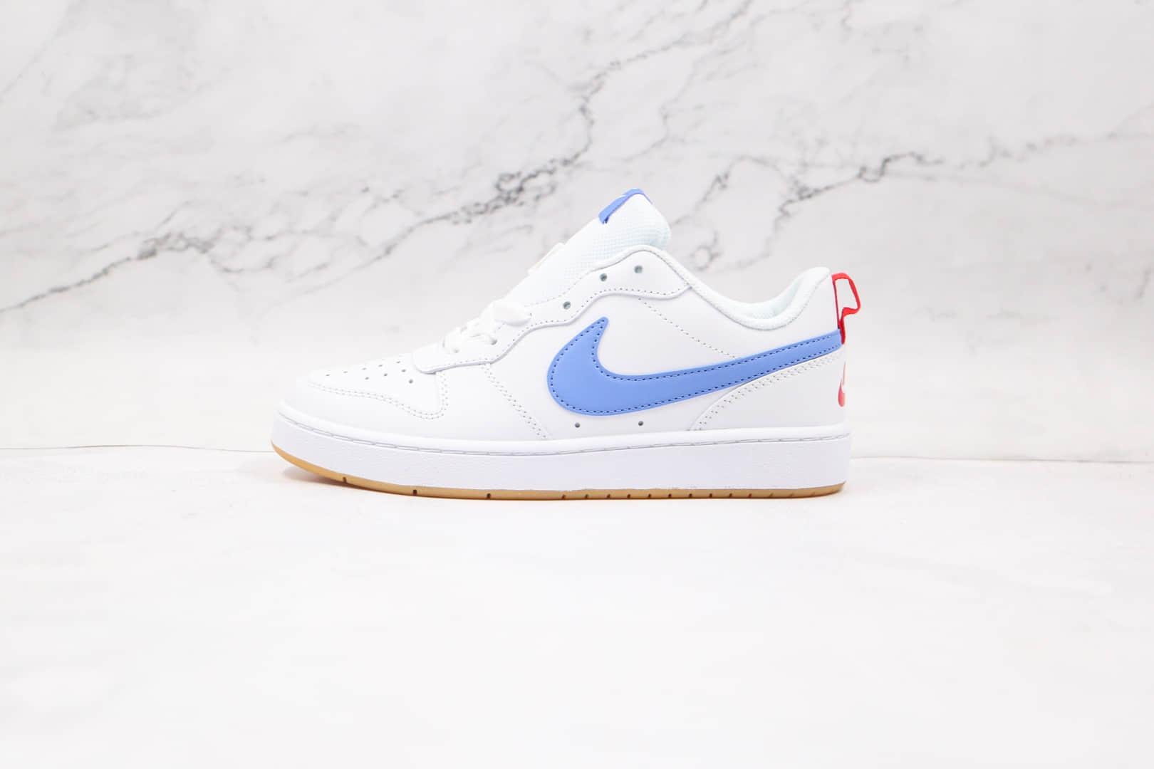 耐克Nike Court Borough Low 2纯原版本低帮白蓝色板鞋原盒原标 货号:BQ5548-109