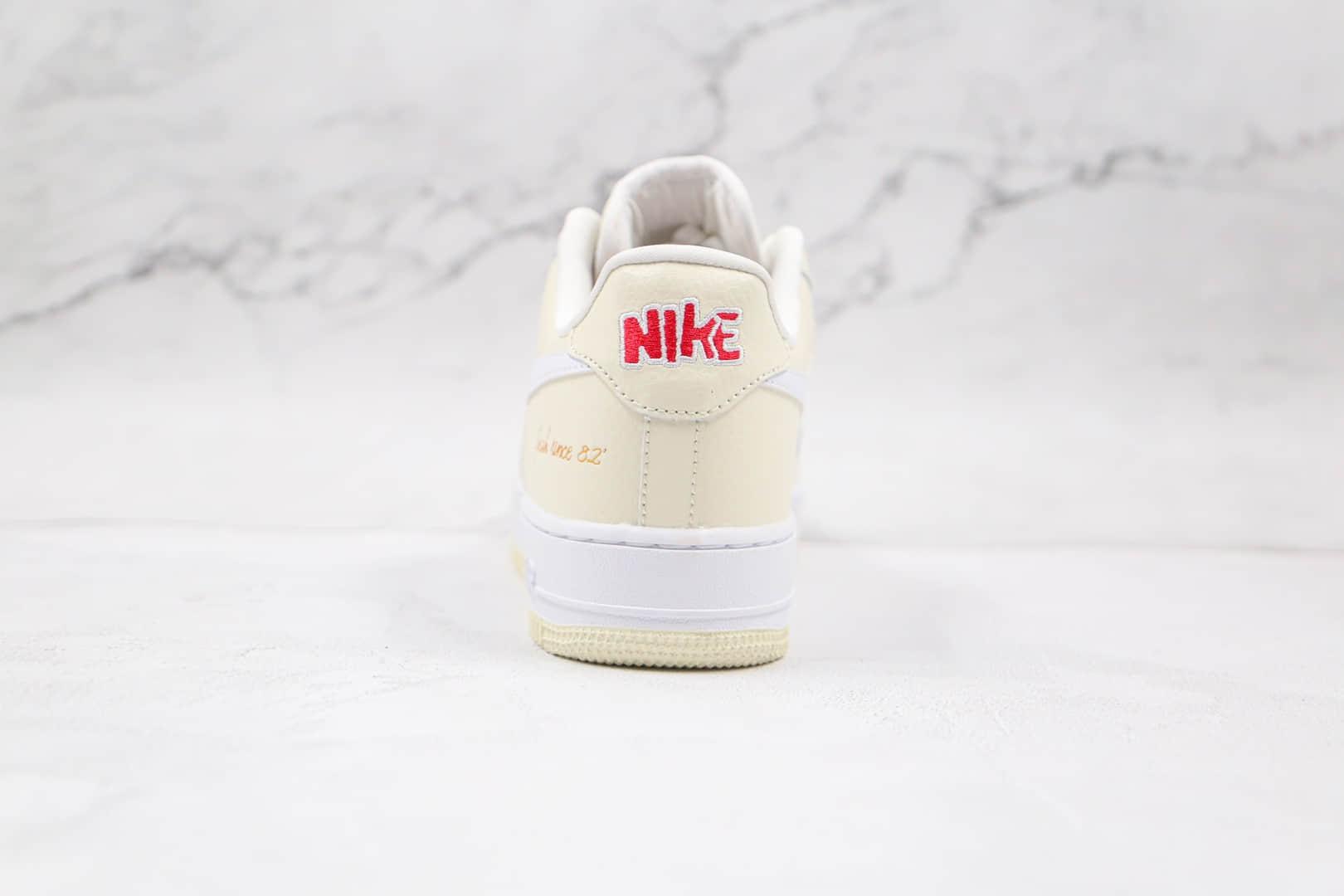 耐克Nike AIR FORCE 1 '07 PRM EMB纯原版本低帮空军一号米白爆米花色板鞋原盒原标 货号:CW2919-100