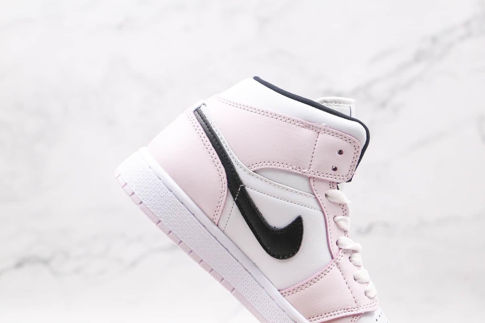 乔丹Air Jordan 1 MID纯原版本中帮AJ1白粉色篮球鞋正确后跟定型 货号:BQ6742-500