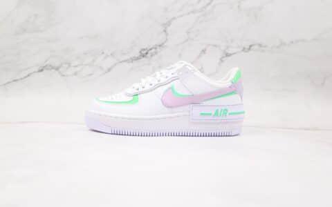 耐克Nike WMNS Air Force 1 Shadow纯原版本低帮空军一号马卡龙双勾白紫粉绿板鞋原盒原标 货号:CU8591-103