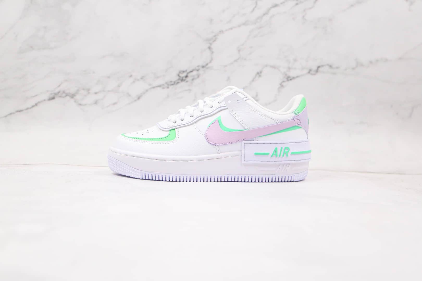 纯原版本耐克空军一号马卡龙双钩白紫粉绿板鞋出货