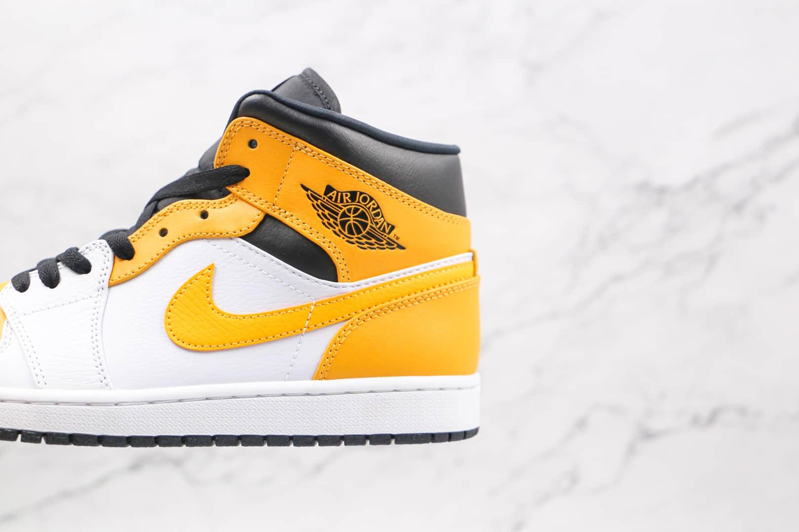 乔丹Air Jordan 1 Mid纯原版本中帮AJ1白黄色篮球鞋原档案数据开发 货号:554724-170