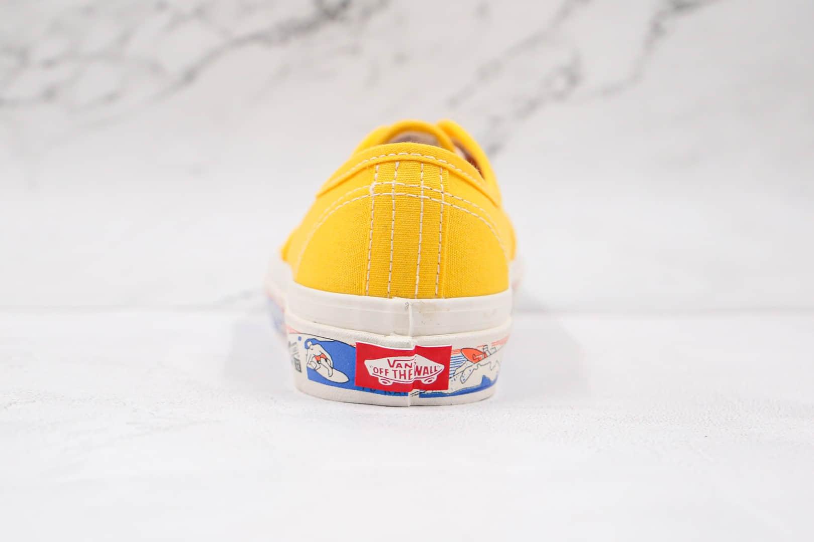 万斯Vans Authentic 44 DX公司级版本低帮安纳海姆黄色帆布冲浪图案硫化板鞋原盒原标 货号:VN0A54F341Q