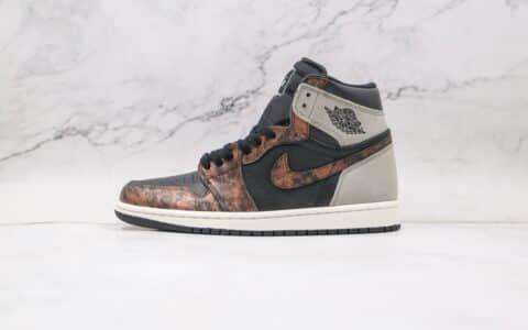 纯原版本乔丹高帮AJ1做旧古铜影子灰篮球鞋出货