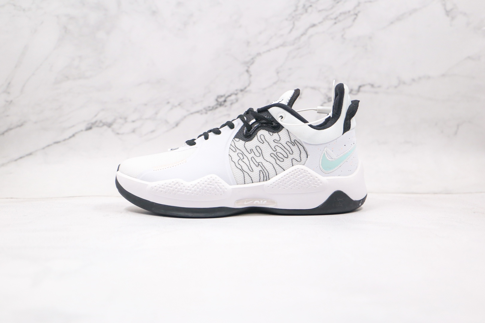 耐克Nike PG5纯原版本保罗乔治泡椒白黑色篮球鞋内置气垫支持实战 货号:CW3143-100