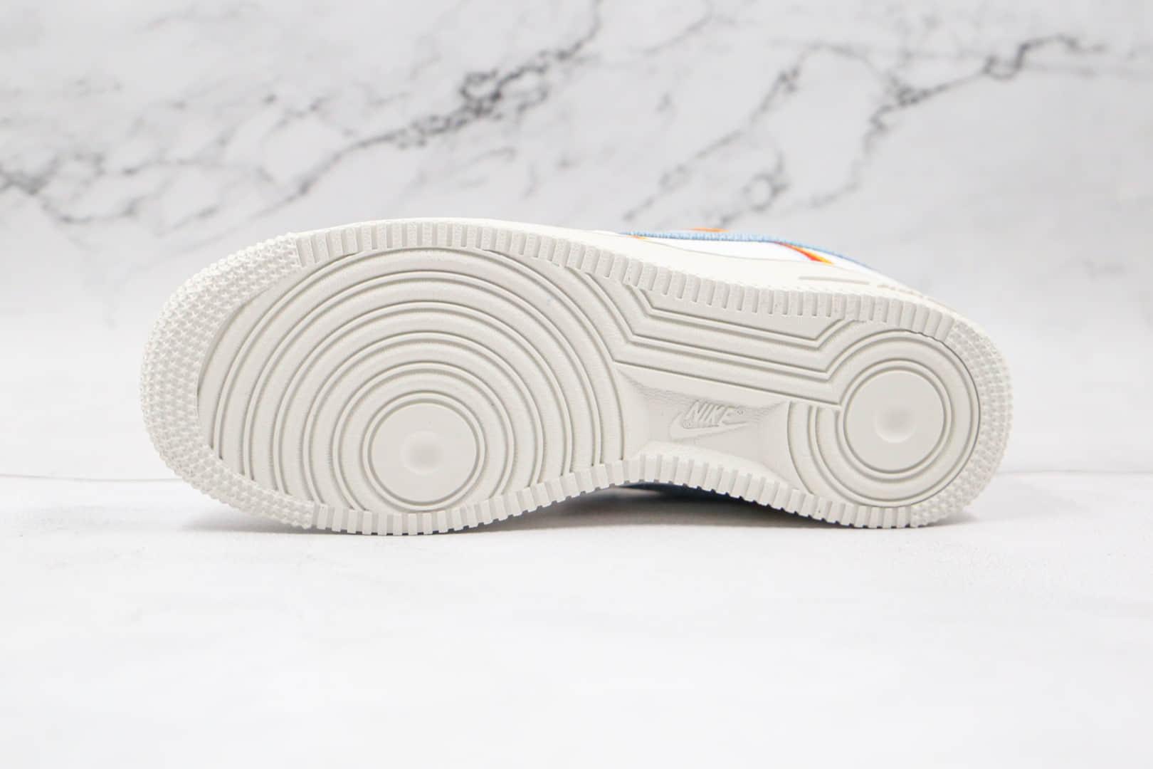 耐克Nike Air Force 1'07纯原版本低帮空军一号帆布橙红淡蓝色勾板鞋原楦头纸板打造 货号:DJ4655-133
