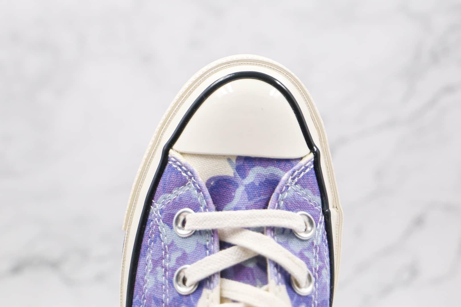 匡威converse 2021 1970s公司级版本低帮花卉紫色图案硫化板鞋原盒原标