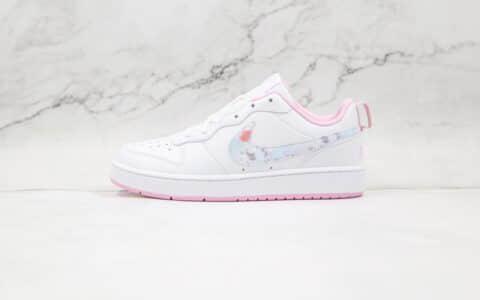耐克Nike Court Borough Low 2纯原版本低帮空军一号白粉色花卉板鞋原楦头纸板打造 货号:CK5426-100