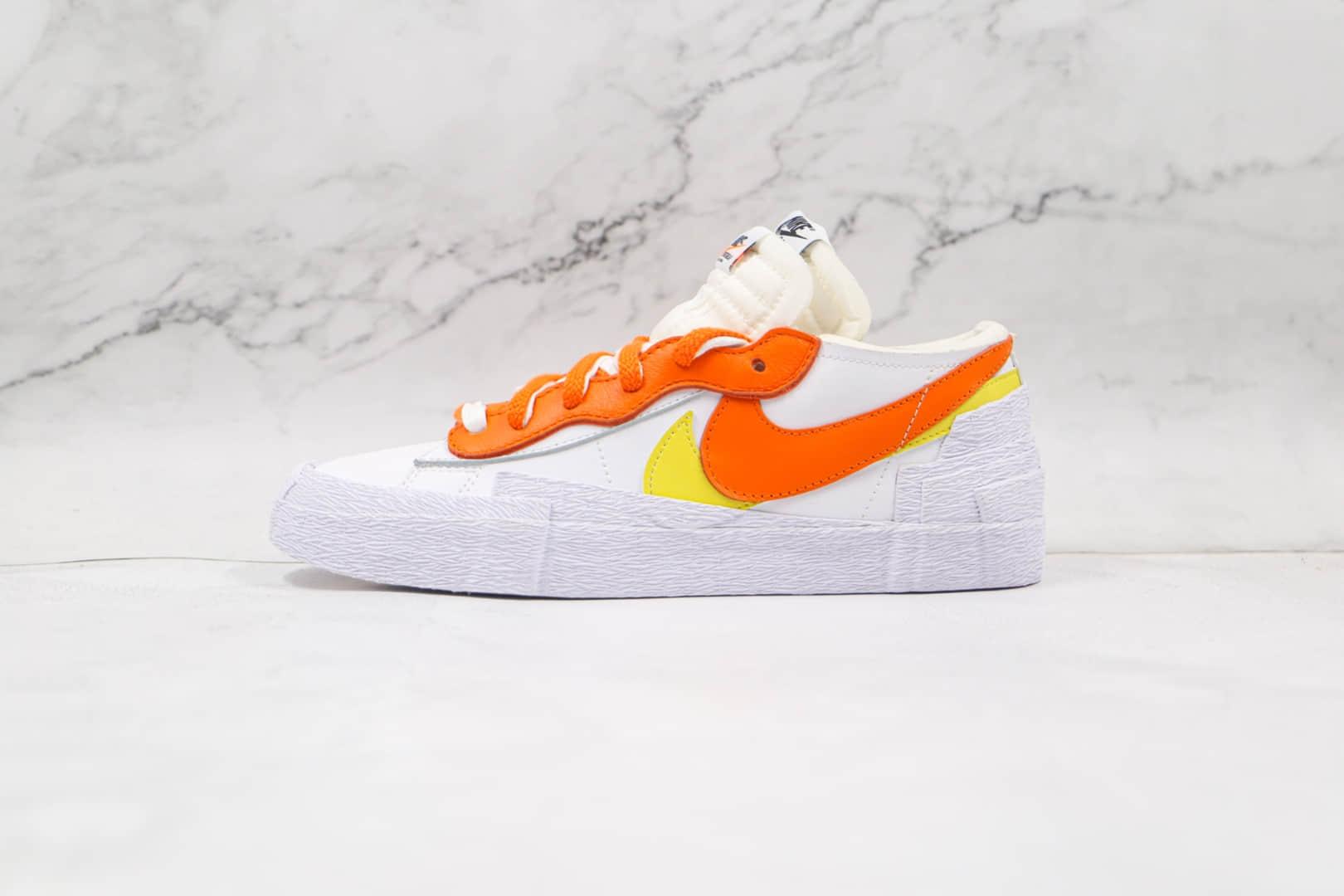 耐克Nike Blazer Low x Sacai联名款纯原版本低帮开拓者白橙黄解构板鞋原档案数据开发 货号:DD1877-100