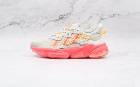 阿迪达斯Adidas OZWEEGO 2021纯原版本水管灰白粉色复古老爹鞋原盒原标 货号:FV9747