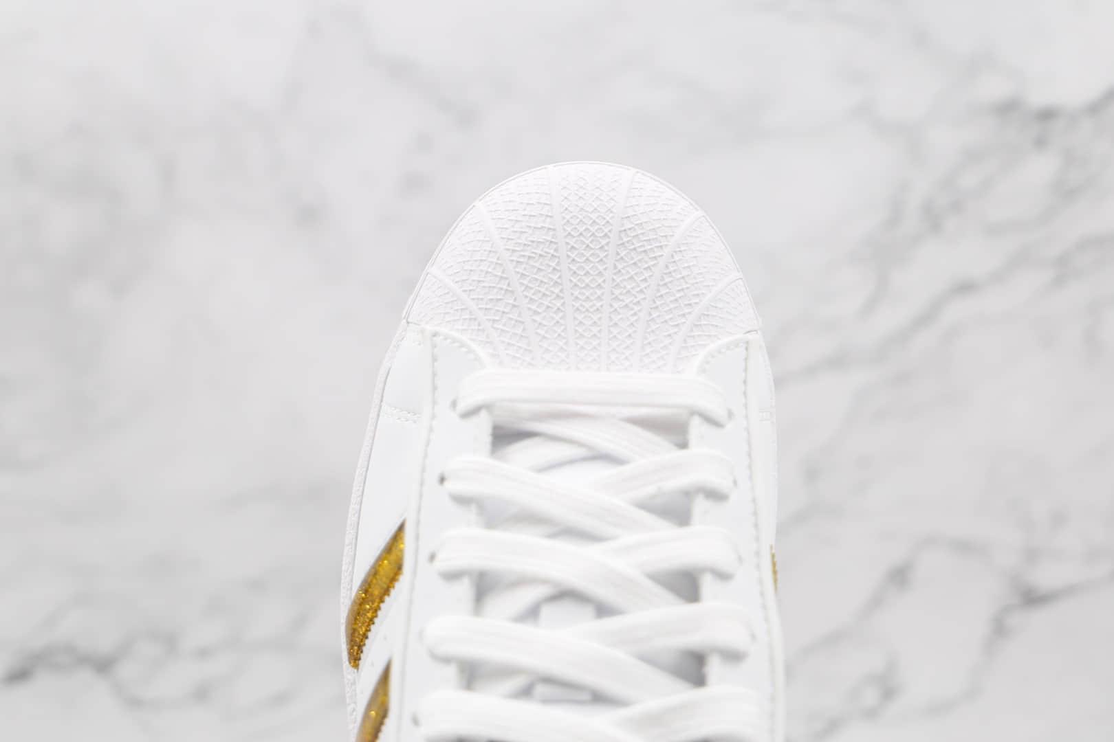 阿迪达斯Adidas Originals Superstars White Red Laceless纯原版本三叶草贝壳头白金色板鞋原档案数据开发 货号:GX7914