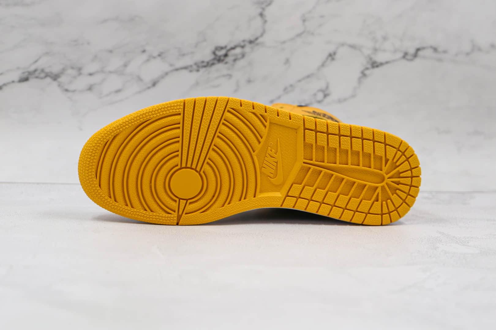 乔丹Air Jordan 1 High OG Pollen纯原版本高帮AJ1黑黄麂皮原档案数据开发 货号:555088-701