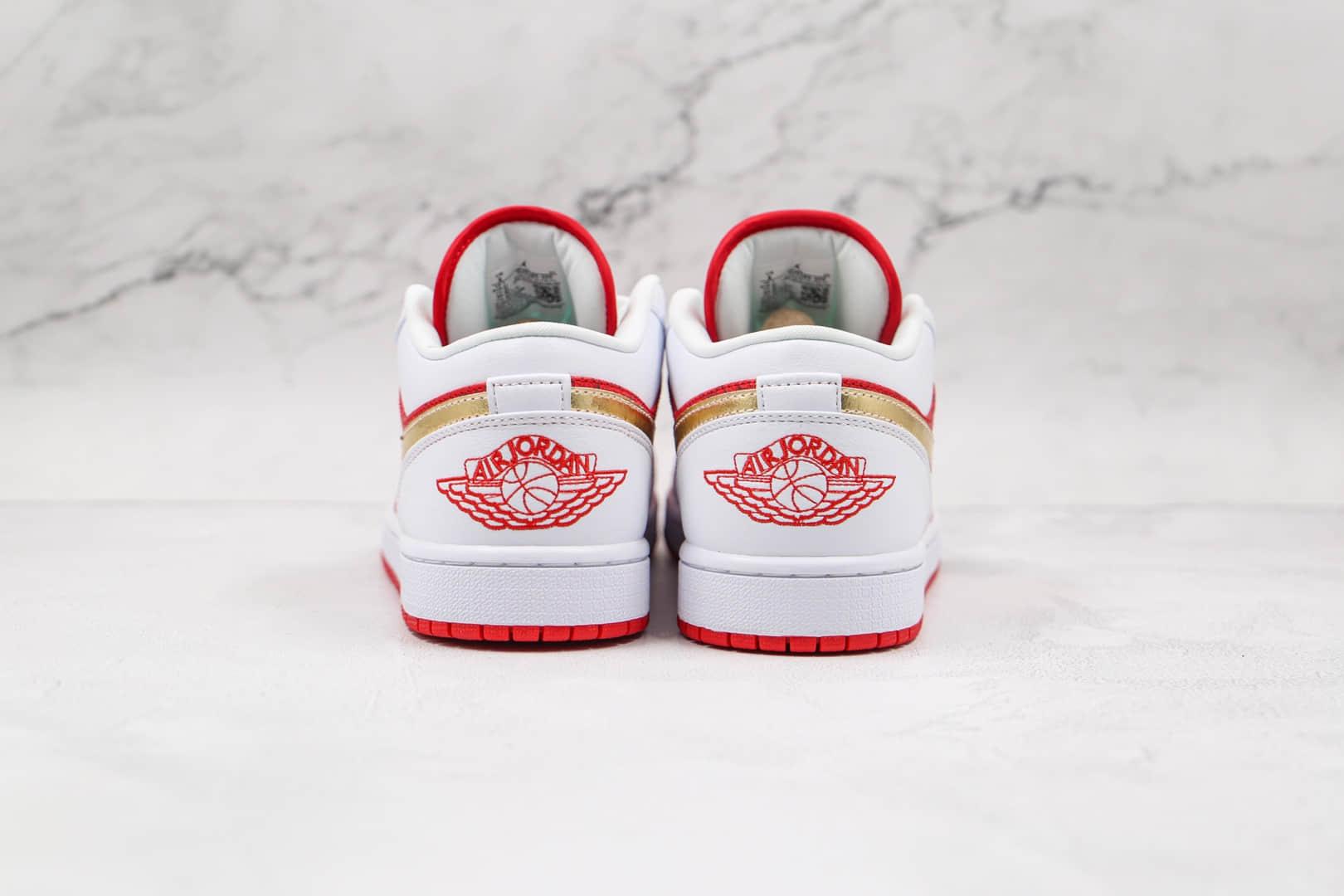 乔丹Air Jordan 1 Low Spades纯原版本低帮AJ1白红金扑克板鞋原档案数据开发 货号:DJ5185-100