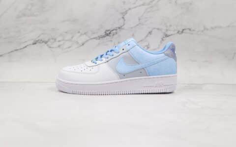 耐克Nike Air Force 1 Low Psychic Blue纯原版本低帮空军一号白灰蓝扎染通灵蓝板鞋内置气垫 货号:CZ0337-400