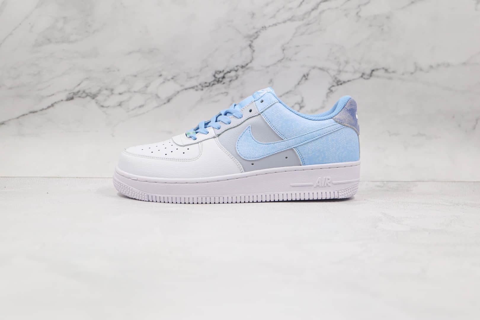 纯原版本耐克低帮空军一号白灰蓝扎染配色板鞋出货