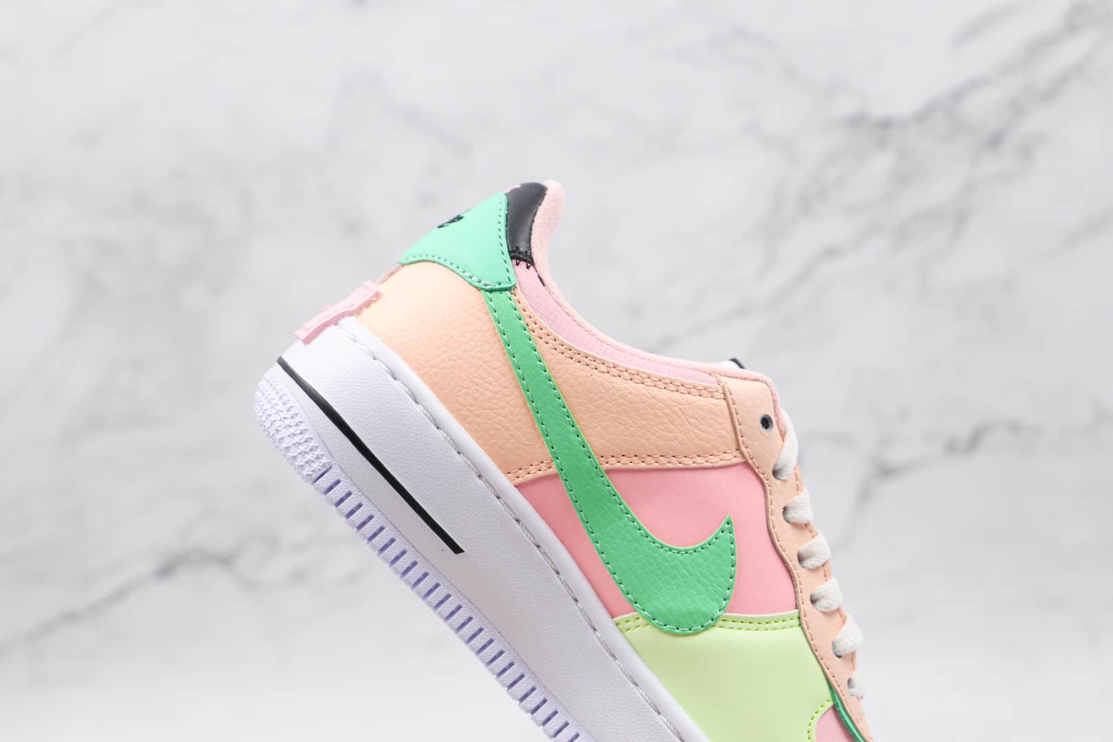 耐克Nike AIR FMRCE 1纯原版本低帮空军一号马卡龙双钩粉黄绿色板鞋原楦头纸板打造 货号:CU8591-601