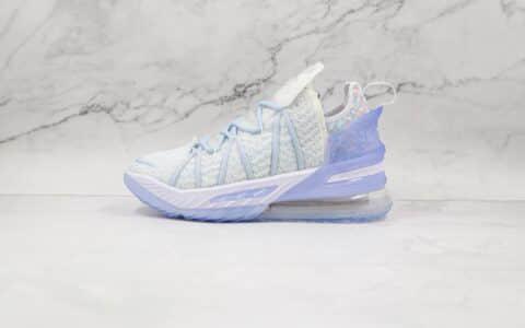 纯原版本耐克詹姆斯18代白冰蓝色实战篮球鞋出货