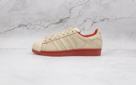 阿迪达斯Adidas Originals Superstars White Red Laceless纯原版本三叶草米白棕色贝壳头板鞋原盒原标 货号:EG4962