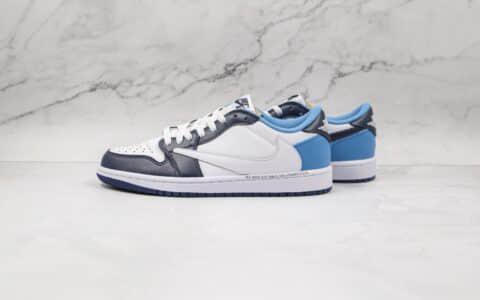 纯原版本乔丹低帮AJ1倒勾白蓝色板鞋出货