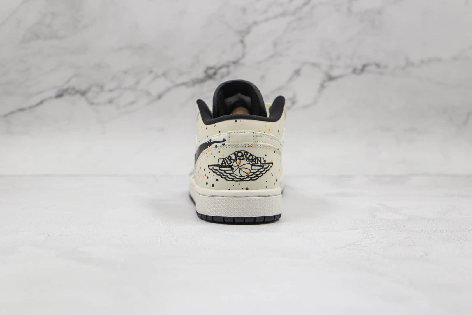 乔丹Air Jordan 1 Low纯原版本低帮AJ1波点泼墨白黑色漫画钩板鞋原档案数据开发 货号:DM3528-100
