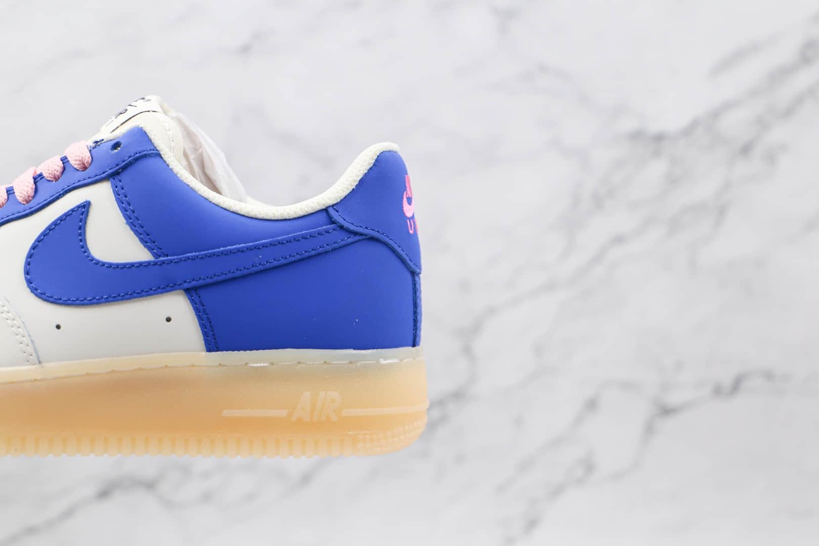 耐克Nike Air Force 1纯原版本低帮空军一号蓝粉闪电板鞋内置气垫 货号:CQ5059-111