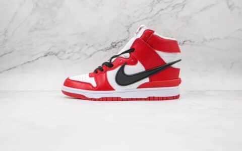 耐克Nike Dunk High x AMBUSH联名款纯原版本高帮DUNK白红色黑钩板鞋原档案数据开发 货号:CU7544-101