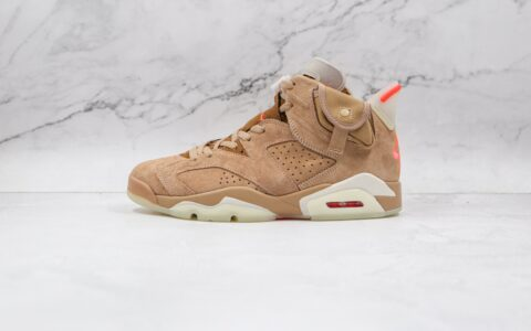乔丹Air Jordan 6 British Khaki x Travis Scott联名款纯原版本AJ6卡其棕夜光色篮球鞋原档案数据开发 货号:DH0690-200
