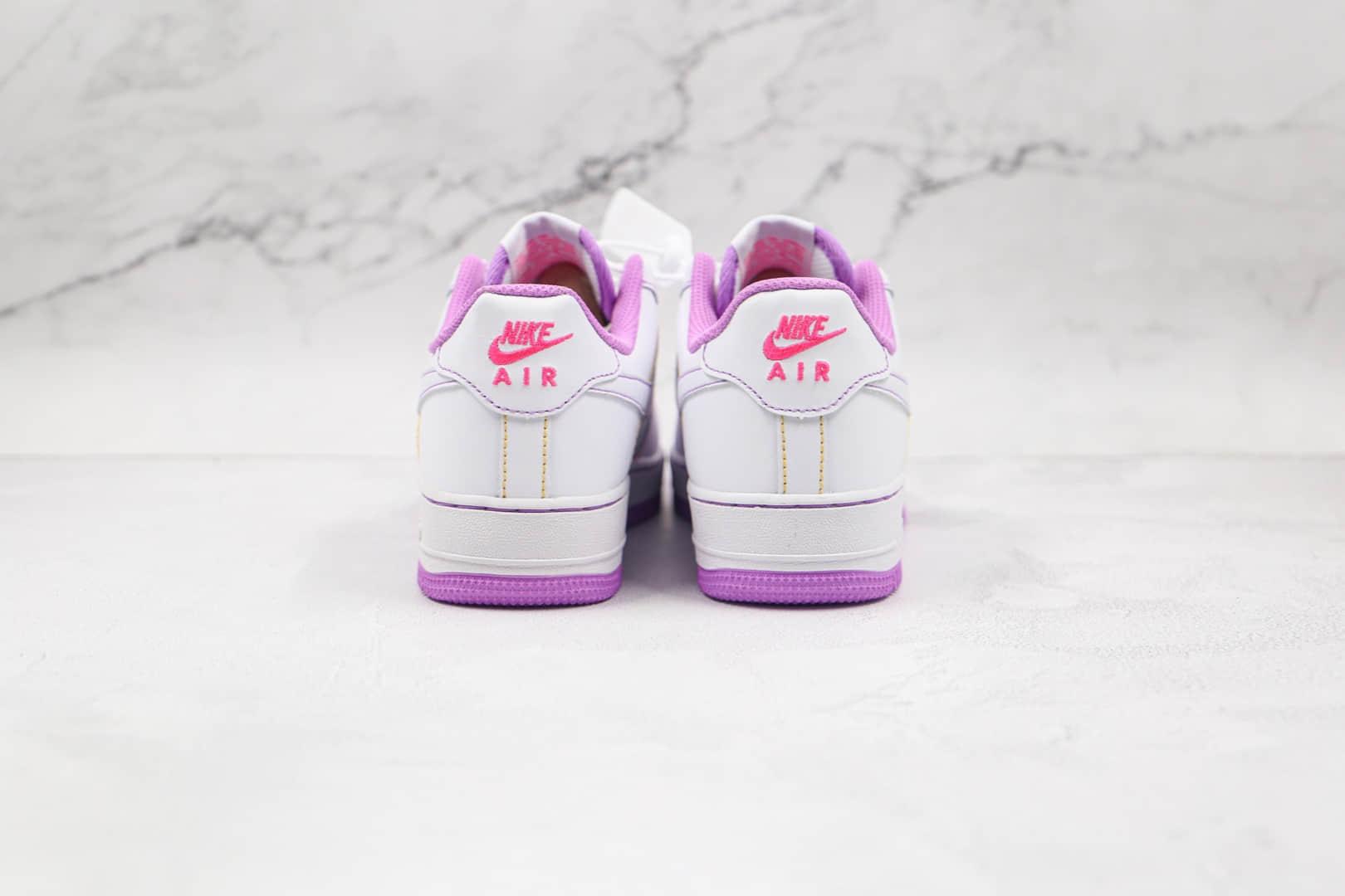 耐克Nike Air Force 1纯原版本空军一号低帮板鞋AF1白紫缝线内置solo气垫 货号:CW1757-100