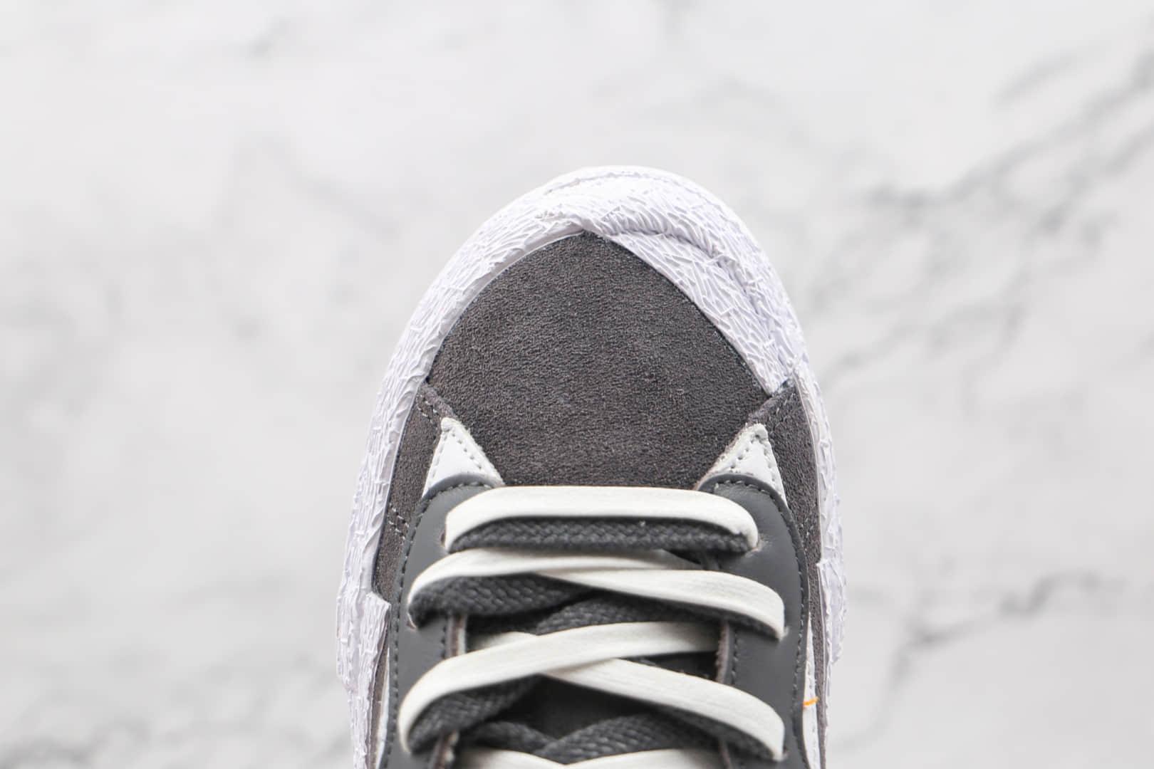 """耐克sacai x Nike blazer low""""Dark Grey """"纯原版本联名开拓者双钩低帮解构板鞋灰白色正确硫化工艺 货号:DD1877-002"""