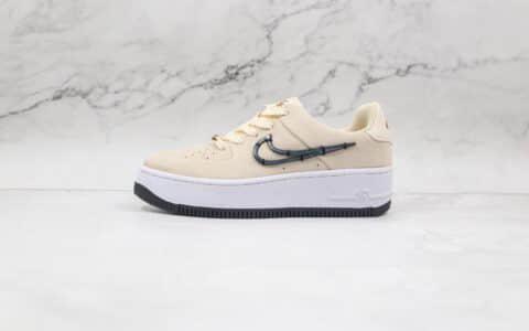 耐克Nike Air Force 1 Sage Low纯原版本空军一号厚底板鞋淡奶油色原楦原纸版打造 货号:CI3482-200