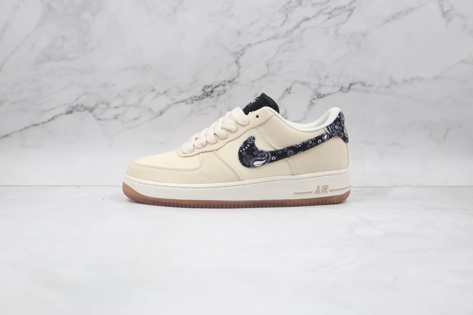 耐克Nike Air Force 1 Paisley Swooshes纯原版本低帮空军一号帆布米白色佩斯利板鞋原楦头纸板打造 货号:DJ4631-200