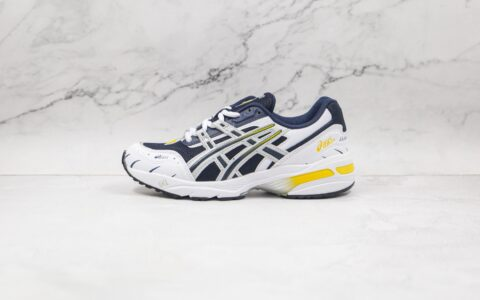纯原版本亚瑟士GEL-1090白深蓝黄色复古慢跑鞋出货